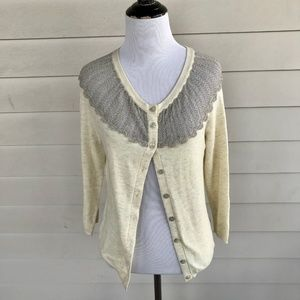 Anthropologie Sparrow Cardigan Sweater Silver Lace